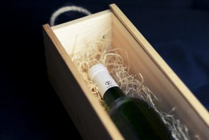 bottle of wine on a special crate