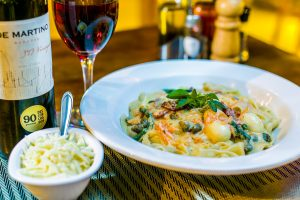 pasta plate and wine