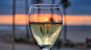 wine glass and sunset