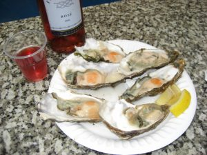 rose wine and oysters